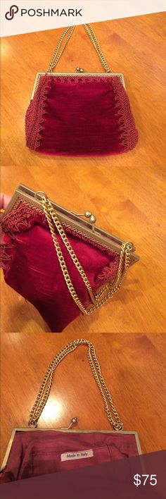 """Vintage Victorian Style Velvet Handbag Amazing small Victorian- style vintage handbag in gorgeous wine-colored velvet. This is old! From my aunt. No stains. No holes. See photos for style where stitching enters fabric. A few loose ends on stitching which can be trimmed. No obvious flaws which is amazing for a vintage/antique bag like this! Lining looks almost perfect! Measures about 7"""" wide by about 6"""" high. Rare piece in rare condition. vintage Bags Mini Bags"""