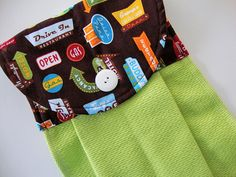 Quilted Hanging Kitchen Towel Diner Signs on by TheTamedTowel, $14.50