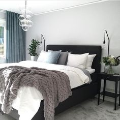I love a neutral base palette soft colour accents. Loving these soft teal curtains and delicate glass pendant light! Home Decor Ideas Decorations DIY Home Make Over Furniture Cozy Bedroom, Bedroom Inspo, Dream Bedroom, Home Decor Bedroom, Master Bedroom, Minimalist Bedroom, Modern Bedroom, My New Room, House Rooms