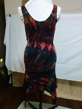 SALE! WITH FREE SHIPPING! Tie Dye Bodycon Stretch Knit Dress Pointed Hem Size Small Dark Rich Colors  | eBay