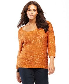 INC International Concepts Plus Size Sweater, Three-Quarter-Sleeve Scoop-Neck Sequin - Plus Size Sweaters - Plus Sizes - Macy's