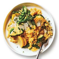 Summer Lemon-Vegetable Risotto   Packed with fresh ingredients, this dish is both filling and decidedly fresh. Reserving some of the cooking liquid for the very end helps to keep the risotto creamy.   CookingLight