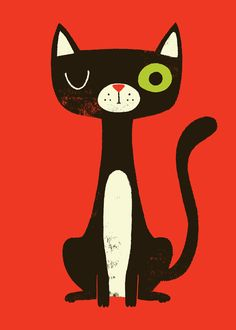 retro cat illustration - Google Search