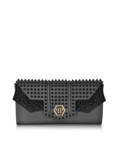 Philipp Plein Negro Futura Leather Clutch - FORZIERI Fall Accessories 3a68536ad358c