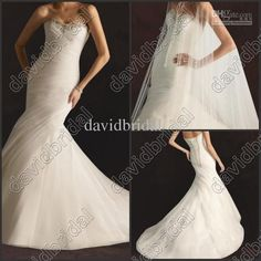 Wholesale Wedding Dresses - Buy 2014 Beaded Ruched Mermaid Sexy Wedding Bridal Dresses Gowns Sweep Train Long Chapel Lace-Up Tulle No Sleeve Garden 20131010, $101.82 | DHgate