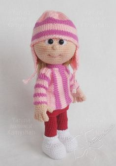 PLEASE NOTE: THIS IS A PATTERN ONLY and NOT THE FINISHED TOY!!! Please PAY ATTENTION This is a CROCHET AND KNITTING pattern PATTERN FOR THE CROCHETED VERSION OF THE CLOTHES IS INCLUDED FOR FREE! MATERIALS AND TOOLS you will need: - skin color yarn for the head and arms (I used less than