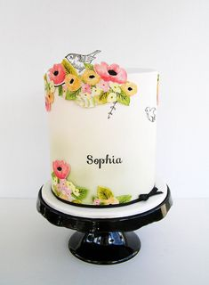 Hand painted flowers b/w details & font | Sweet Disposition Cakes