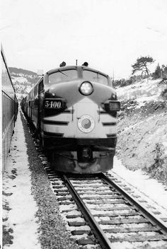 """Northern Pacific 5400, Chain Gang in the Montana Rockies. Photo taken  from the """"Mainstreeter"""" Spring 1954"""