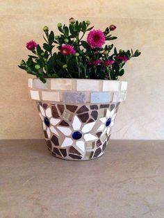 Mosaic tile planter, terracotta planter, flower pot, garden art, outdoor planter, kitchen storage pots, handmade garden pot, patio container by moZEHicDesigns on Etsy