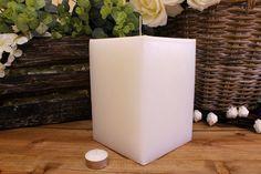 Κεριά μασίφ τετράγωνα σε χρώμα λευκό ΤΧ1520ΧΛΕ. Πλευρά: 15εκ. Ύψος: 20εκ. Pillar Candles, Taper Candles