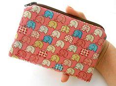 Elephant Japanese Import Little Zipper pouch Padded ECO Friendly OOAK by JPATPURSES, $9.00
