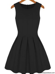 To find out about the Black Round Neck Sleeveless Pleated Flare Dress at SHEIN, part of our latest Dresses ready to shop online today! Black Flare Dress, Black Tank Dress, Black Peplum, Cute Dresses, Short Dresses, Cute Outfits, Skater Dresses, Cheap Dresses, Women's Dresses