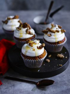 Swap the pudding for cupcakes and add a generous dollop of maple flavoured buttercream! A little crunch from the candied pecans makes them extra more-ish. Vanilla Bean Cupcakes, Baking Cupcakes, Cupcake Recipes, Cupcake Cakes, Chocolate Buttercream Icing, White Buttercream, Best Ever Chocolate Cake, Cupcake Queen, Decadent Cakes