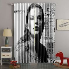 3D Printed Taylor Swift Style Custom Living Room Curtains – Westbedding 3d Curtains, Custom Curtains, Blackout Curtains, Panel Curtains, Custom Bedding, Bright Decor, Taylor Swift Style, New Room, Girl Room