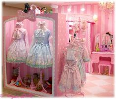 pink and blue lolita shop display