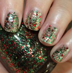 China Glaze Party Hearty - red, gold, and green glitter particles, a Christmas party in a bottle ;)