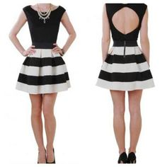 Bodice:  solid color with adorable back cut out; Skirt:  horizontal stripes.