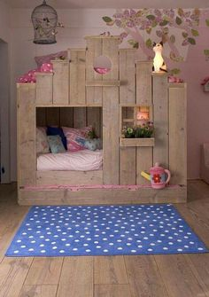 Adorable cottage bed for a little girl. Could be made into a barn bed for a little boy, too!