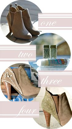 Turn your tan boots into sparkly awesomeness!