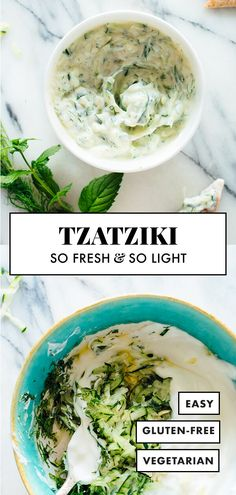 This tzatziki recipe is the BEST! Tzatziki is a refreshing Greek cucumber and yogurt dip with fresh mint or dill. Serve tzatziki as a sauce, dip or spread. It's easy to make and full of flavor! Salsa Tzatziki, Tzatziki Recipes, Tzatziki Recipe Greek Yogurt, Greek Yogurt Recipes, Mint Recipes, Healthy Recipes, Real Food Recipes, Vegetarian Recipes, Gourmet
