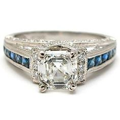 1.05CT SQUARE EMERALD CUT DIAMOND & BLUE SAPPHIRE ENGAGEMENT RING SOLID PLATINUM