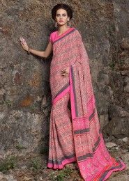 Casual Wear  Crepe Pink Printed Saree