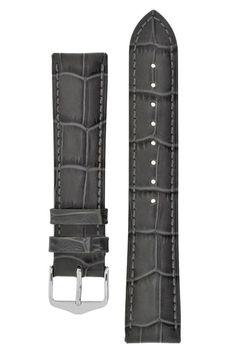 Hirsch DUKE Alligator Embossed Leather Watch Strap in GREY