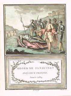 Roger de Sanguinet - Ingénieur français - Année 1289 - sous Philippe IV dit le Bel - aquatinte par Mixelle - MAS Estampes Anciennes - Antique Prints since 1898