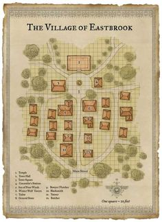 Village Guldenberg Farmland deciduous forest Roads n-n-e-e-s-s-w-w d&d rpg Fantasy City Map, Fantasy Village, Fantasy Town, Fantasy World Map, Fantasy Places, Dungeons And Dragons Homebrew, D&d Dungeons And Dragons, Plan Ville, Pathfinder Maps