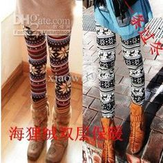 Wholesale Beaver Cashmere colored stripes or Snowflake deer double-layer warm-keeping leggings, $8.18-9.26/Piece | DHgate