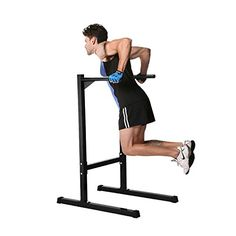 56553c7cc01 Ollieroo Heavy Duty Dip Stand Freestanding Dip Station Parallel Bar Bicep  Triceps Home Gym Dipping Station Dip Bar-Black