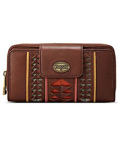 Fossil Handbag, Explorer Perforated Zip Clutch - Fossil - Handbags & Accessories - Macy's
