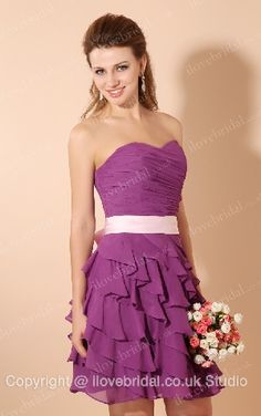 2013 Style Darling Pleated Sweetheart Tiered Purple Cocktail Dress With Pink Sash