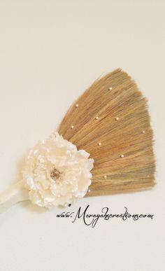 White wedding broom-Simple, elegant- minimalist design