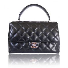 Chanel Black Lambskin 2.55 Classic Kelly Handbag
