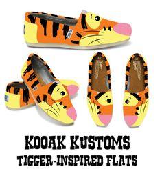 KOOAK Kustoms Disney TiggerInspired Toms Flats by KammysOneOfAKind, $95.00