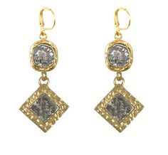 Gold Rimini Coin and Diamond Shape Earrings