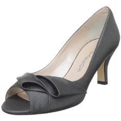 low heel gray peep toe