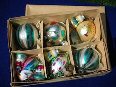 Shiny Bright Glass Christmas Ornaments by vintageartsupplies, $27.00