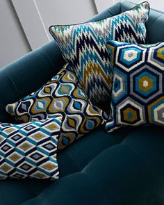 Worth Avenue Bargello Pillow and Matching Items by Jonathan Adler at Neiman Marcus.