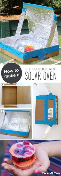 How to make a DIY Solar Oven from a repurposed cardboard box. This is a great experiment for kids to learn about solar energy and sustainability. (fun and easy diys science experiments) Kid Science, Summer Science, Forensic Science, Computer Science, Science Chart, Kindergarten Science, Diy Solar, Solar Oven Diy, Cool Science Experiments
