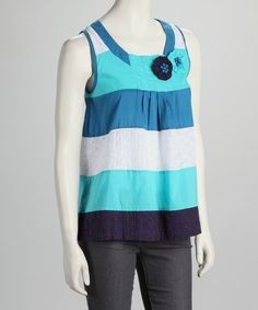 $22.99  Take a look at this Aqua & White Stripe Tank by Young Threads on #zulily today!