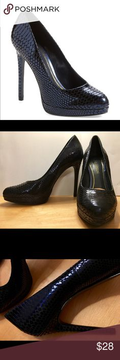 """Enzo Angiolini Samendra Platform Pump reptileBlue Gorgeous dark blue platform pumps.  4""""heels.  PERFECT condition. Wore once for an event. I  put clear heel protectors on and a cushioned pad at the ball of the foot. They are beautiful! Size 7.5 M Enzo Angiolini Shoes Heels"""