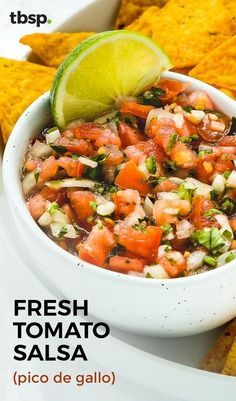 Fresh Pico de Gallo is amazing served with chips, and makes an excellent addition to almost any summer meal. This incredibly easy homemade salsa is packed with fresh tomatoes, onions, cilantro and more, and is ready to eat in just 5 minutes. You might even want to make a double batch, because this fresh tomato salsa has a habit of vanishing fast!