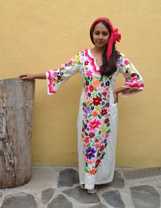 Mexican Dress/ Mexican hand embroidery / by TheTianguisMexico, $3000.00 love this but no that price..lol