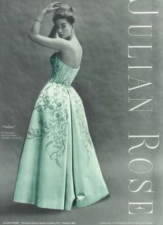 Julian Rose Ondine Ball Gown c1963 Ondine, Evening Dresses, Formal Dresses, 1960s Fashion, Green Dress, Designer Dresses, Vintage Dresses, Ball Gowns, Vogue