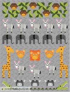 Jungle Friends Quilt Pattern PDF Instant von SewFreshQuilts auf Etsy