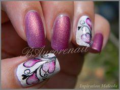 Nail art coeur aquarelle