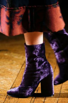 Fall '15 Accessories Trend Report | Velvet Footwear | Dries Van Noten Deep Purple Block Heeled Crushed Velvet Booties