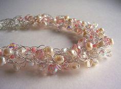 Collar de Novia de ganchillo alambre perla joyería nupcial
